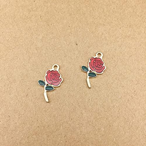 LLBBSS 10 Piezas DIY Metal Esmalte Color Rosa Flor Encantos Florales Adorno Pulsera Colgantes para Collar Pendiente Fabricación De Disfraces