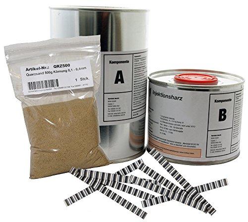 1,2 kg Epoxidharz, Gießharz, Rissharz + 30 Stck. Estrichklammern + 500g Quarzsand