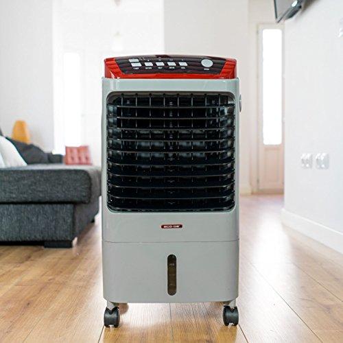 ECO-DE Climatizzatore a evaporazione portatile 5 in 1 (non condizionatore)• Raffreddatore d'aria • Ventilatore • Funzione calore • Umidificatore • Freddo 70 Watt • Caldo 2KW • 500 m³/h • ruote per facile spostamento • Telecomando incluso color grigio
