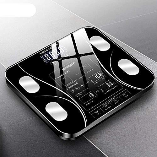 LQH Waage Badezimmer Körperfettwaage, intelligente Elektronische Waagen, Bad Skala LED Digital Haushalt Waagen, 180Kg, Schwarz