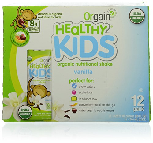 Orgain Organic Kids Protein Nutritional Shake, Vanilla - Great for Breakfast & Snacks, 21 Vitamins & Minerals, 10 Fruits & Vegetables, Gluten Free, Soy Free, 8.25 fl oz, 12 Count (Packaging May Vary)