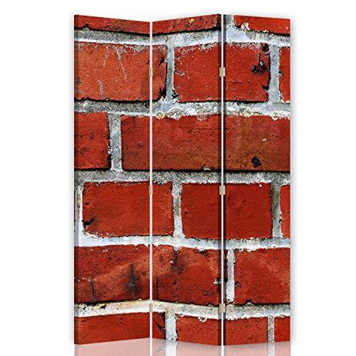 Feeby Foto Biombo Corcho Muro Ladrillos 3 Paneles Bilateral Abstracto Rojo 110x175 cm