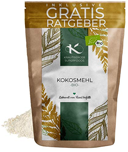 BIO Kokosmehl 1000g | Bio Kokosnuss fein gemahlen aus kontrolliert biologischem Anbau ohne Zusätze inkl. gratis Ratgeber Low Carb Food Kokosnussmehl