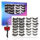 EYESEEK False Eyelashes Lashes,14 Pairs Fluffy & Wispy Mink Fake Eyelashes,Faux Natural & Dramatic False Lashes Pack