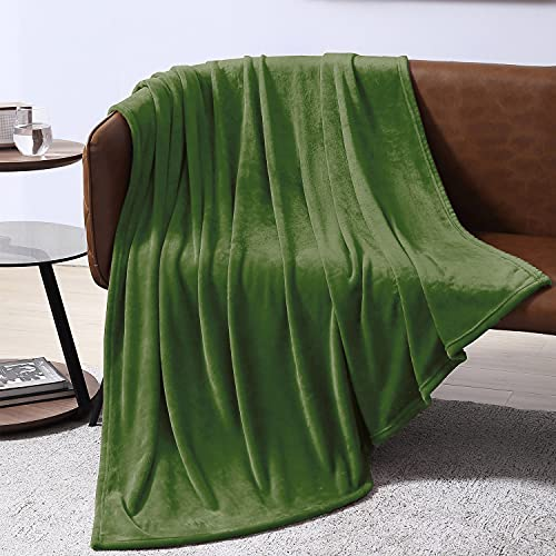 EXQ Home Fleece Blanket Green Throw Blanket for Couch or Bed - Microfiber Fuzzy Flannel Blanket for Adults or Kids