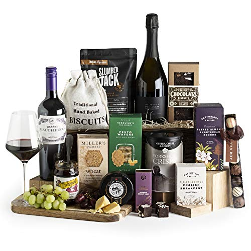The Ultimate Wine and Cheese Collection - Italian Prosecco & Malbec Red Wine - Artisan Food Hampers and Gourmet Gift Baskets - Hampers For Him or For Her - Free UK Delivery