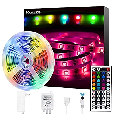 Ksipze Led Strip Lights, 16.4ft Color Changing RGB 5050 SMD 150 LEDs Non-Waterproof Flexible Ribbon with IR Remote and 12V Power Supply Led Light Strip Kit for Home, Bedroom Decoration