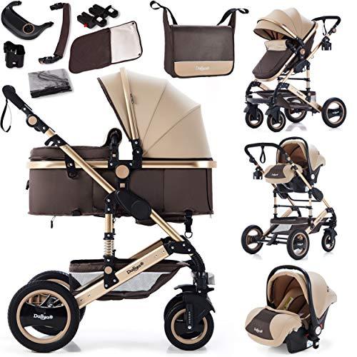 Daliya Bambimo 3in1 Kinderwagen Kombikinderwagen Riesenset 15-Teilig incl. Babywanne, Buggy, Babyschale mit Fußsack, Alu-Rahmen, Voll-Gummireifen, Wickeltasche, Kindertisch - Braun Gold