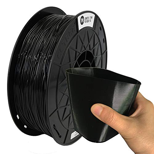 CCTREE Easy Print TPU Flexible Filament 1.75 mm 1 kg Spool, Upgrade Stronger Toughness Printing Accuracy +/- 0.03 mm For 3D Printer Creality Ender3v2, Anycubic Mega 3D Printer (Black)