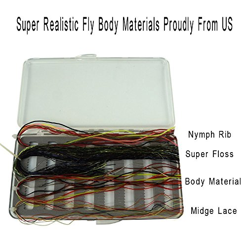 Riverruns Super Realistic Fly Tying Materials, Super Floss, Nymph Rib, Midge Lace, Body Material Best Color Selections All in One with A Free Fly Box, Proudly from USA, Streamers