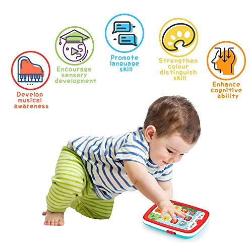 VATOS Toddler Learning Tablet for 1 Year Old, Baby Ipad for 6M -12M -18M+ with Music & Light, Travel Toy Tablet with Easy ABC Toy, Numbers & Color | My First Learning Tablet