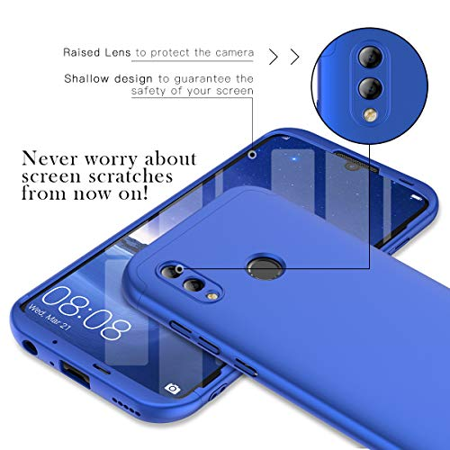Winhoo Kompatibel mit Huawei Honor 10 Lite Hülle Hardcase 3 in 1 Handyhülle 360 Grad Schutz Ultra Dünn Slim Hard Full Body Case Cover Backcover Schutzhülle Bumper - Blau - 2