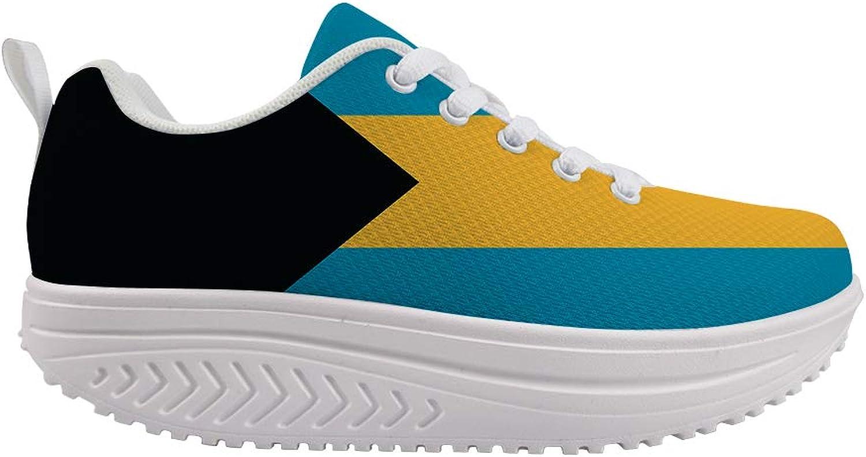 Owaheson Swing Platform Toning Fitness Casual Walking shoes Wedge Sneaker Women Bahamas Flag