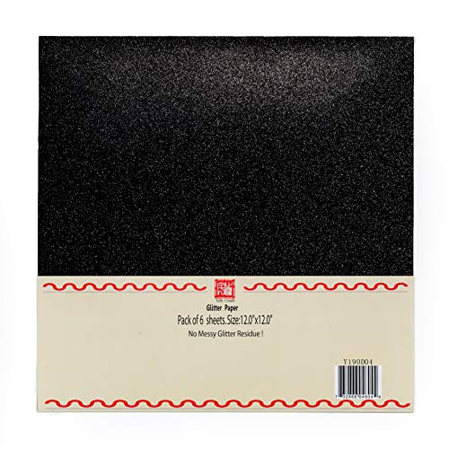 10 Pcs 250GSM, Black YZH Crafts Glitter Cardstock Paper,Glitter on Both Side No-Shed Shimmer Glitter Paper,12 Inch by 12 Inch