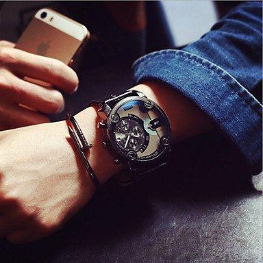 FENKOO Männer JIS Quarz-wasserdichte Sport-Uhr-Kalender echtes Leder Armbanduhr montre reloj relogio (sortierte Farbe) Watch