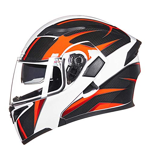 HNLong Elektrischer Motorradhelm Facelifting-Helm männliche und weibliche Persönlichkeit Sommer Doppellinse Anti-Fog-Vollhelm Motorradhelm-XL_White Carbon Lead Neon Orange