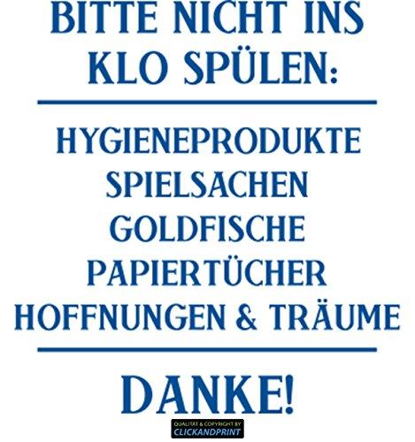 CLICKANDPRINT Aufkleber » Bitte Nicht ins Klo spülen:, 20x18,6cm, Verkehrsblau • Wandtattoo/Wandaufkleber/Wandsticker/Wanddeko/Vinyl