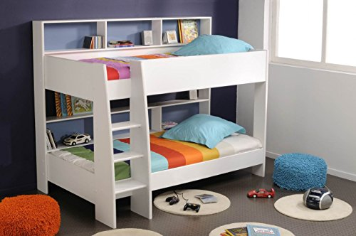 TAM TAM Etagenbett mit Rückwand in Pink oder Blau, 90 x 200 cm, Weiß
