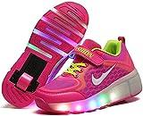 Roller Sports Roller Skate Chaussures LED Sneakers légers Clignotant Skates lumineux pour enfants Enfants Junior Garçons Filles Filles Pour les femmes et les hommes ( Color : Rose , Size : 1.5 UK )
