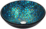 ANZZI Mosaic Modern Tempered Glass Vessel Bowl Sink in Blue/Gold Mosaic Finish | Top Mount Installation Bathroom Sinks above Counter | Round Vanity Countertop Sink Bowl | LS-AZ198