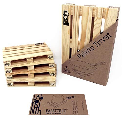 Design Studio Labyrinth Barcelona Palette-It - Set de 4 avec Dessous de Plat - Dessous de Verre en Bois - sous-Verre de Table Palette pour Boissons, Tasses et Bar