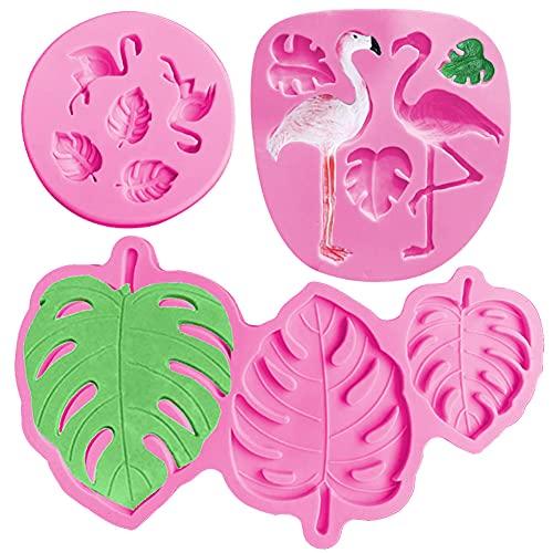 SUNSK Silikon Fondant Kuchen Formen 3D Flamingo Silikonform Blätter Schokoladenformen DIY Kuchen Süßigkeiten Gelee Backformen 3 Stück