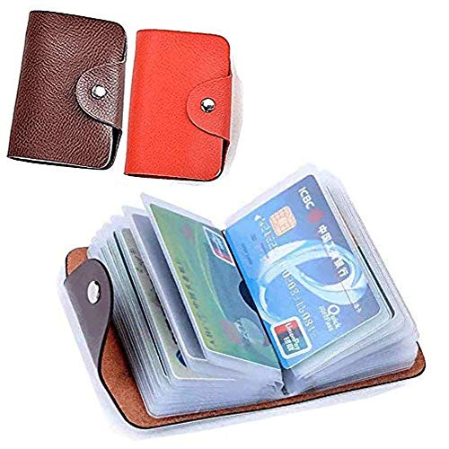 Unisex Small Leather Credit Card Holder - 2 Pack (Redk&Brown)…
