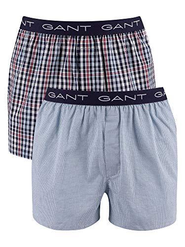 GANT Herren Mini Gingham Boxer Shorts 2-Pack Boxershorts, Classic Blue, XXL