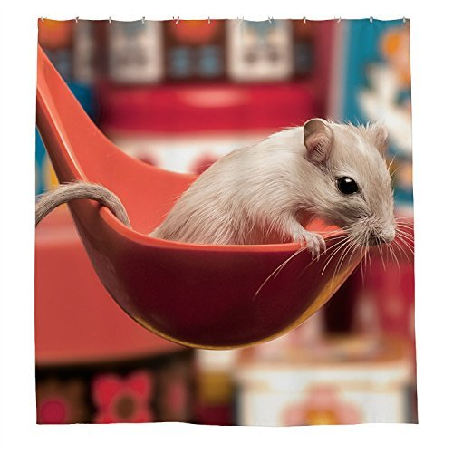 rioengnakg weiß Maus Wasserdicht Polyester Duschvorhang, #1, 48