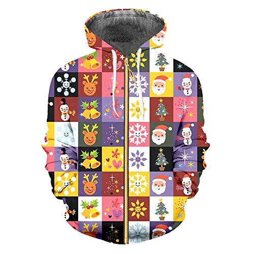 JUANFAQI Sudaderas con Cremallera con Estampado 3D Divertidas Sudaderas con Costura de Rejilla navideña Hombres Mujeres Christmas EU Size XL