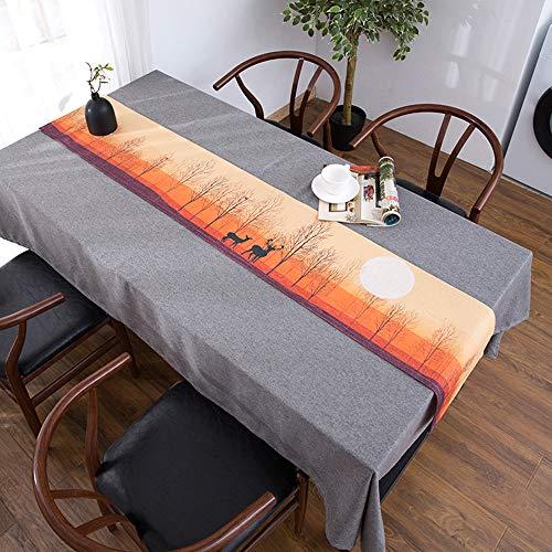 Drapeau de Table Longue, Nappe de Meuble de télévision, Lin en Coton Bei, Nappe de Table Basse, Housse de Meuble TV Anti-poussière(; 30 * 240cm)