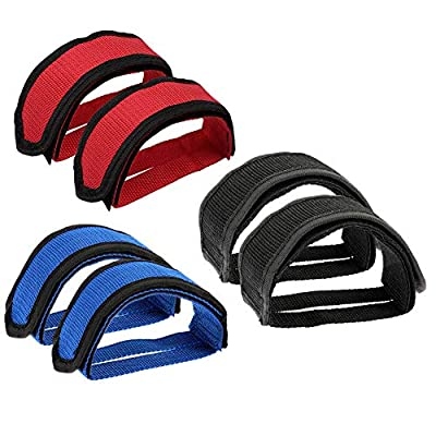Hermard Bike Pedal Straps, 3 Pairs Pedal Toe Clips Straps Tape Bicycle Feet Strap for Fixed Gear Bike, Universal Bicycle Feet Pedal Straps Pedal Bicycle Feet Strap (Black, Red, Blue)