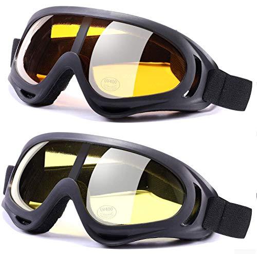 Anti-Glare Lenses, Ski Goggles, Winter Sport Snowboard Goggles with UV 400 Protection, Snowboard Goggles for Kids, Boys & Girls, Youth, Men & Women, Helmet, Wind Resistance (Transparent&Yellow)