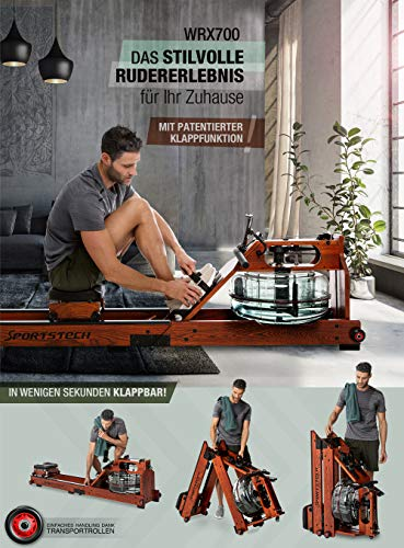 Exhibition novelty 2020! Premium water rowing machine with patented folding function +App function + Multiplayer & Video Events I chest strap I 3in1 Water resistance I WRX700 Home Rower - Real wood