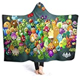 AntonioWilliams Plants Vs. Zombies Deluxe Super Soft Hooded Blanket, Wool Blanket Hoodie Cloak, Lightweight Anti-Pilling Warmth Suitable for Sofa Nap Reading Play Games Watching Movies Camping50 x40