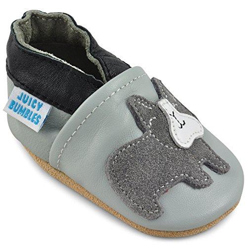 Juicy Bumbles - Weicher Leder Lauflernschuhe Krabbelschuhe Babyhausschuhe mit Wildledersohlen. Junge Mädchen Kleinkind- Gr. 12-18 Monate (Größe 22/23)- Grau Bulldog