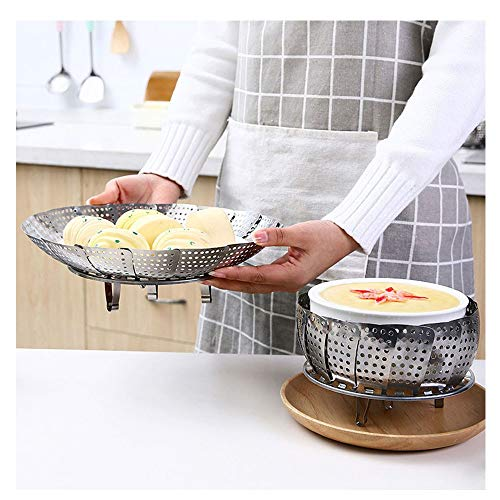 CZLZ Gemüsedämpfer Edelstahl, Dünsteinsatz Dampfgar-Einsatz Faltbar Dämpfkorb für Gemüse, Fit Various Pot Pressure Cooker