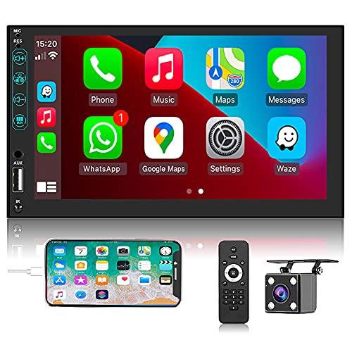 Hikity 2 DIN Radio de Coche Compatible con Carplay Android Auto, 7 Pulgadas Pantalla Táctil Estéreo de Coche Bluetooth FM Soporta Entrada AV, Cámara de Seguridad, Enlace con el Espejo, SWC