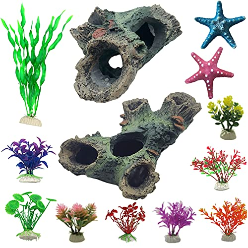 Hamiledyi 13Pcs Decaying Trunk Aquarium Fish Tank Decorations Accessories Set Decor Artificial Plastic Plants and Starfish Resin Ornament Hollow Tree Trunk Hideouts Cave Small