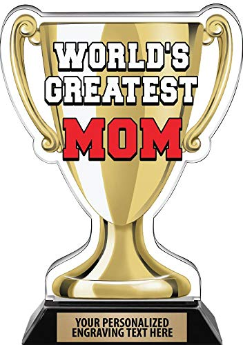 """Crown Awards Worlds Greatest Mom Trophy, 7.25"""" Best Mother Ever Trophy, Engraving Included Prime"""