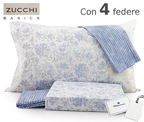 Zucchi Completo Copripiumino Matrimoniale 250x200+40 Art. Elegance Doubleface con 4 federe + tavoletta Profumo Biancheria per armadi by biancocasa