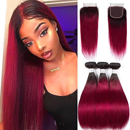 Ombre Brazilian Hair bundles with Closure - ORANGE STAR Brazilian Hair Bundles Burgundy Red Human Hair Weft With Lace Frontal Closure 4x4\