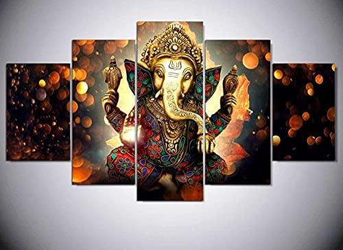 BHJIO Impresiones sobre Lienzo 5 Cuadros En Lienzo Modernos Dormitorios Murales Pared Lona XXL Grande Hogar Cuadros Decora Salón Piezas Ganesha