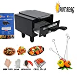 HotBerg Hot Berg Steel Element 1500W Small Electric Tandoor Combo Hand Gloves, Grill Stand, Magic Cloth, Recipe Book, 4 Skewers, Pizza Cutter, 4 Shocked Proof Rubber Legs (Black)