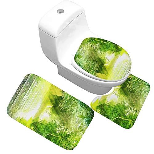 Grüne Pflanze Badematte 3 Stück/Set Saugfähig rutschfeste Badezimmer Bodenmatte Toilettenbezug Weicher und bequemer Badteppich - 05