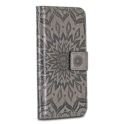 Huawei P8 Case Cover, Casake [Ripple] [High Quality Pu Leather] [Card Slot] [Wallet Leather Flip Case] for Huawei P8 Case, Grey