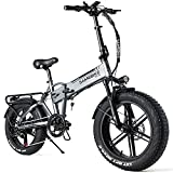 SAMEBIKE Fat Bike Bicicleta Electrica Montaña de 20 Pulgadas, Bicicleta Eléctrica Plegable con Batería de 48 V 10AH, Neumático Gordo Bicicleta de Montaña para Adultos