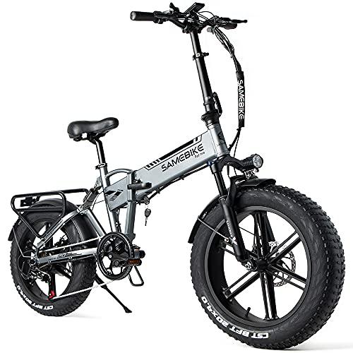 SAMEBIKE 20 Zoll Ebike Mountainbike, Faltbares Elektrisches Mountainbike 500W 48V 10AH, Fettreifen Mountainbike für Erwachsene, Höchstgeschwindigkeit von 35km/h