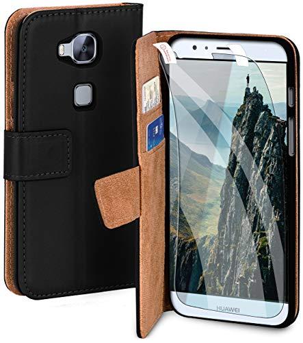 MoEx Premium 360° Protection Set Compatible con Huawei G8 / GX8 | Protección del teléfono [Bolsa + lámina] Cubierta en Ambos Lados con Tapa y Diapositiva, Noir