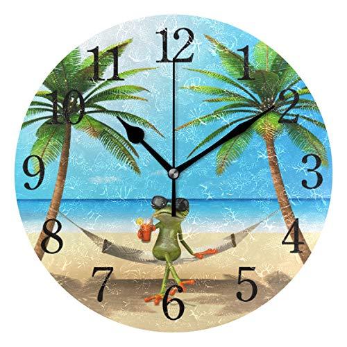 WowPrint Ocean Strand Palme Baum Frosch-Muster, Wanduhr Arabisch Ziffer, Leise, Ohne Ticken, Runde Wanduhren, Wohnaccessoires, Wohnzimmer, Badezimmer, Schlafzimmer, Küche, Büro Deko